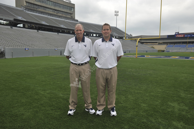 WVU Football coaches, trainers and players take part in the WVU Football Media Day August 2012 (WVU Photo/Brian Persinger)