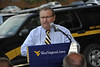 WVU leadership, police officers and the WVU community take part in the ribbon cutting of the new WVU Police building August 2012 (WVU Photo/Greg Ellis)