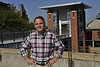 William Trumbull WVU Fulbright Scholar  poses for a portrait on the WVU downtown campus August 2012 (WVU Photo/Greg Ellis)