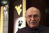 John Martin designed the WVU logo in 1980. The Flying WV has become one of the most recognized college logos in the world. His brother Dick Martin was WVU's athletic director at the time. John Martin is in town to see his team, the Kansas Jayhawks battle WVU in football.  Photo by Scott Lituchy / West Virginia University