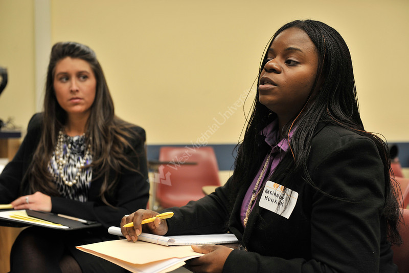 WVU students from across different colleges within WVU compete in the WVU Business Plan Competition, February 2012. (WVU Photo/Jack Lambuth)