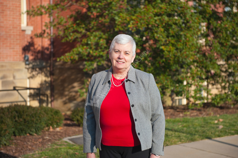 28113 WVU professor Nancy Lohmann pose for a portrait at Woodburn circle downtown campus for the WVU Eblery Alumni Magazine, February 2012. (WVU Photo/Jake Lambuth)