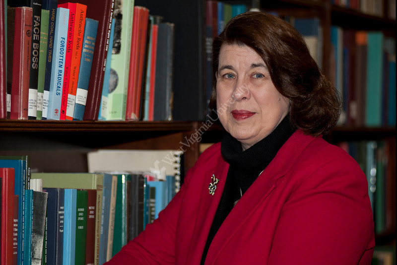 WVU Eblery College professor Janice Spleth poses for a portrait in the Milino reading room Wise library Downtown campus, February 2012. (WVU Photo/Todd Latocha)