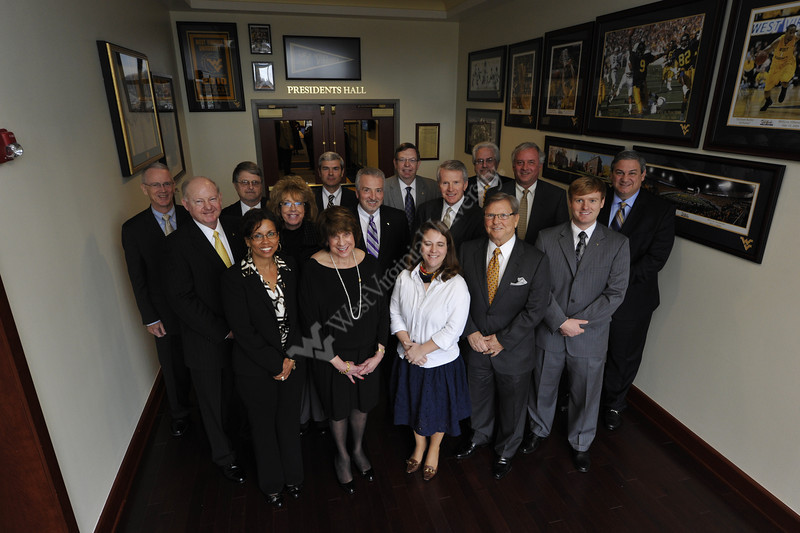 WVU's  Board Of Governors pose for a photo at the Erickson Alumni Center Evansdale campus, February 2012. (WVU Photo/Greg Ellis)