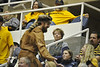 WVU Mountaineer candidates work the WVU Coliseum crowd at the Mountaineer Cheer Off, February 2012. (WVU Photo/Brian Persinger)