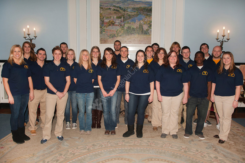 WVU Residence Assistants and Residence  Hall Coordinators  pose for a group photo at EMoore Hall downtown campus, January 2012.<br /> (WVU Photo/Lake Lambuth)