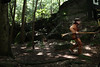 WVU Mountaineer Jonathan Kimble runs through Coopers Rock for a WVU national spot tv commercial.