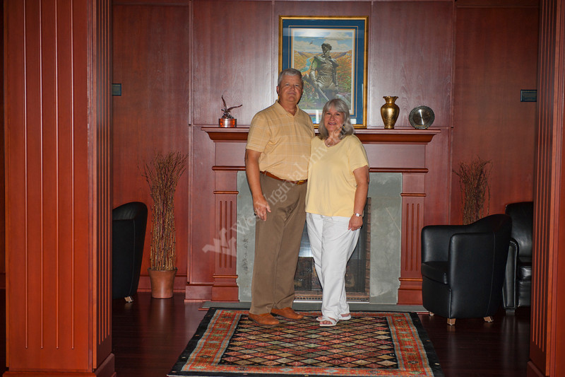 Lee and Rosemary Fisher pose for a portrait in the Kennedy room at the Erickson Alumni center for the WVU Alumni Magazine July 2012 (WVU Photo/Jake Lamburth)