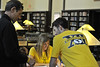 WVU students pose with Big 12 Tee shirts at the WVU downtown library as part of the    WVU BIG 12 tee shirt promo June 2012. (WVU Photo/Brian Persinger)