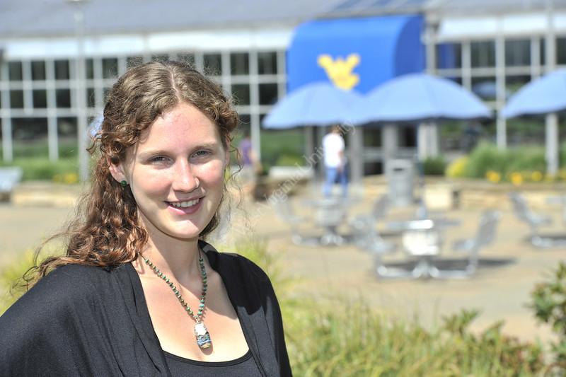 28392 WVU Fulbright Scholar Alanna Markle poses for a portrait on the Mountainlair Plaza June 2012 (WVU Photo/Greg Ellis)
