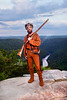 WVU Mountaineer  mascot Jonathan Kimble poses for a portrait at Rave Rock May 2012. (WVU Photo/Brian Persinger)