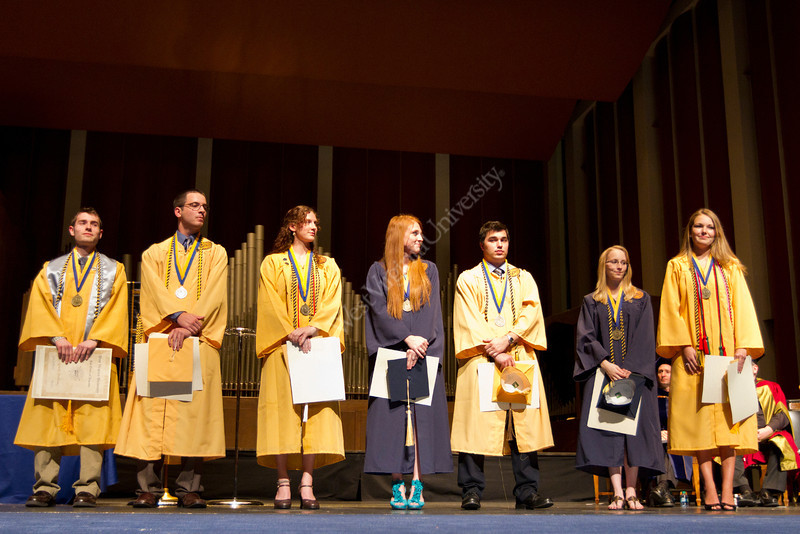 2012 members of the Order of Augusta at the Honors Convocation, from left to right, Grant Shulman, Steven Robison, Alanna Markle, Tina E.Y. Hoggarth, Alan M.I. Gnegy, Amy L. Burty and Colleen J. Beatty.