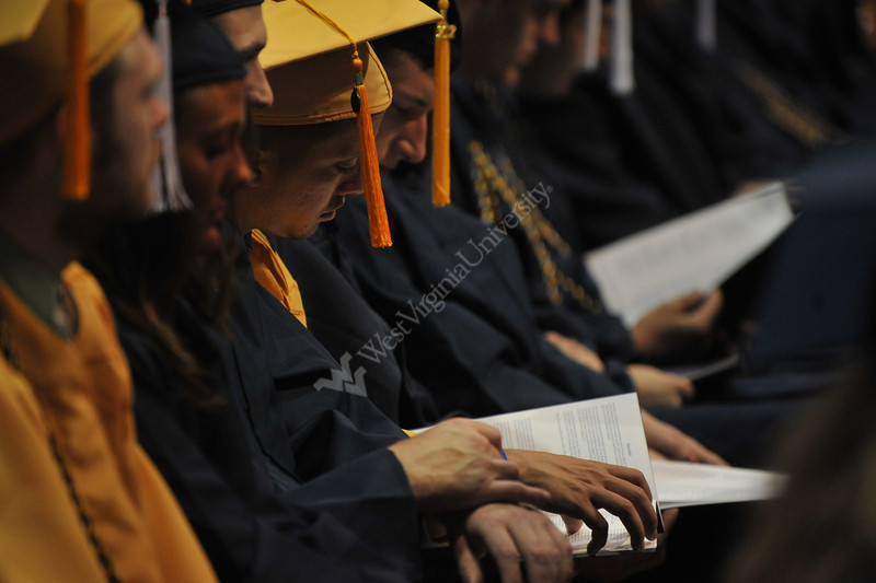 WVU Eberly College graduates take part in the Commencement at the WVU Coliseum. May 2012 (WVU Photo/Todd Latocha)