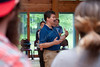 28351 WVU Department of Anesthesiology Jim Cain interacts with WVU faculty, staff and students at the Westvaco conference center WVU University Forest.  2012 (WVU Photo Jake Lambuth)