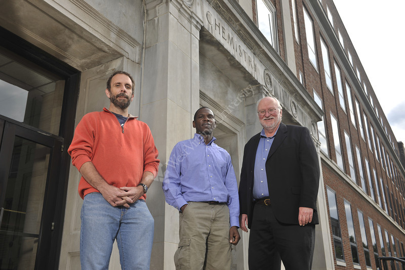 WVU faculty Showalter,Tinsley, Nkomo pose for photos on the Downtown campus Eberly Magazine (WVU Photo/Brian Persinger)