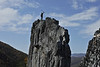 WVU Mountaineer Jonathan Kimble climbs Seneca Rocks October 2012 WVU Photo/Greg Ellis)