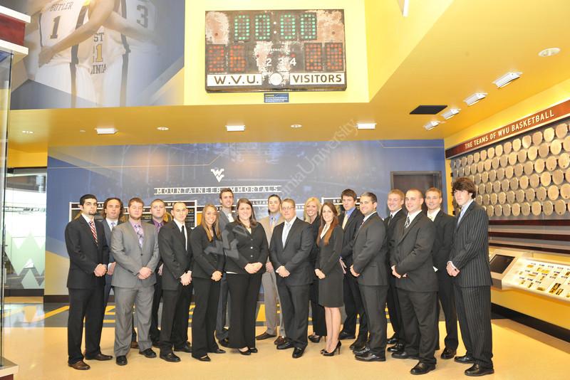 WVU Sports Management Graduate Program  students pose for a group photo October 2012 (WVU Photo/Greg Ellis)
