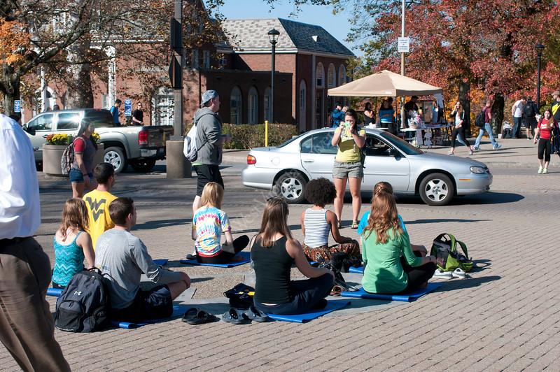 WVU students take part in the Meditation Mob Mountainlair October 2012 (WVU Photo/Greg Ellis)