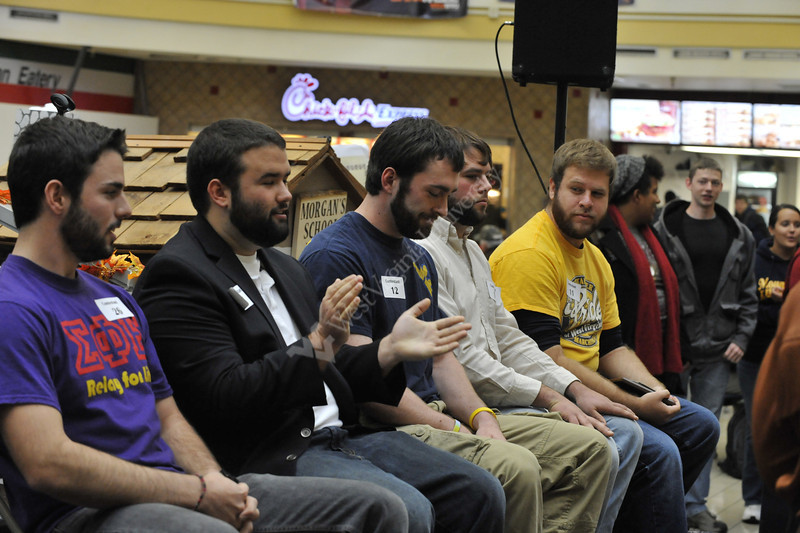 WVU students take part in the Mountaineer Beard Growing Contest Finals, October 2012 (WVU Photo/Brian Persinger)