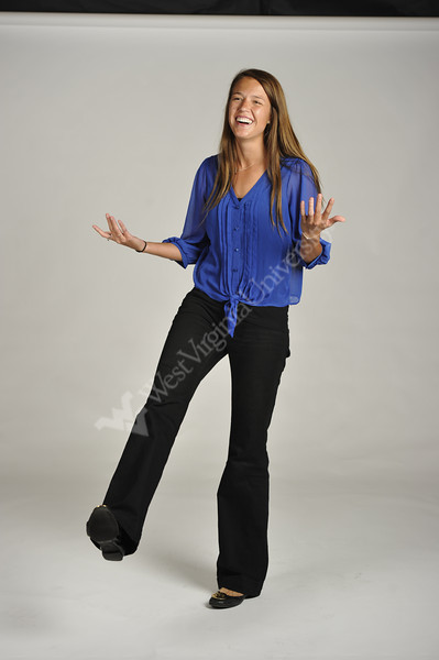 WVU student Abby Monson poses for a portrait at OWF studio September 2012. (WVU Photo/Greg Ellis)