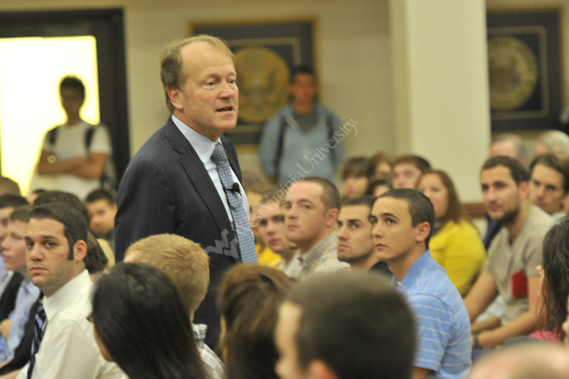 John Chambers Cisco Chairman speaks at the B&E 60th Anniversary lecture series at the Erickson Alumni Center September 2012 (WVU Photo/Greg Ellis)