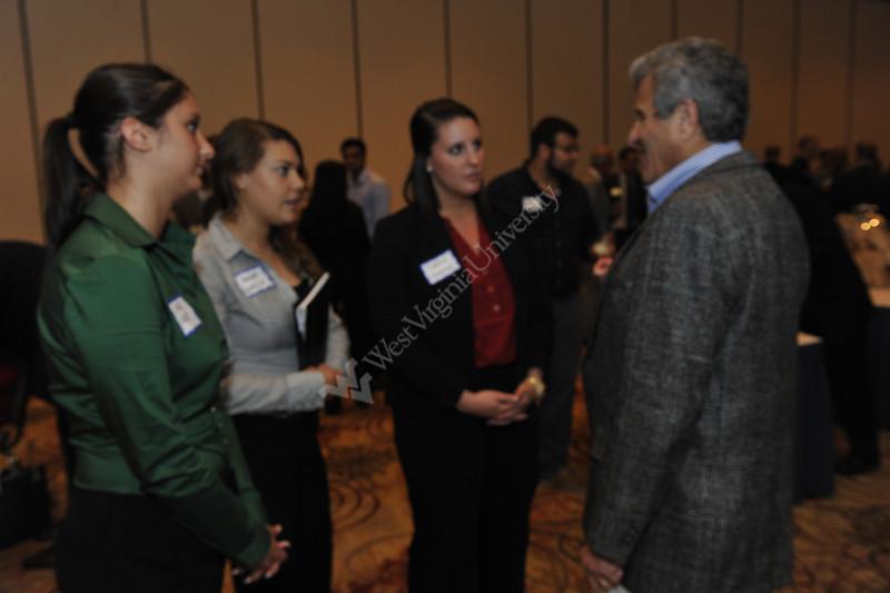 WVU B&E leaderships, alumni and students gather at the WVU B&E Graduate Student Reception September 2012 (WVU Photo/Greg Ellis)