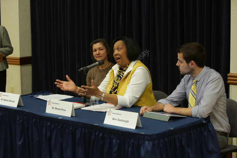 """""""Leaning in at WVU""""<br /> Dr. Shelia Price, Dr. Natalia Schmid, Ben Seebaugh, Provost Wheatly"""