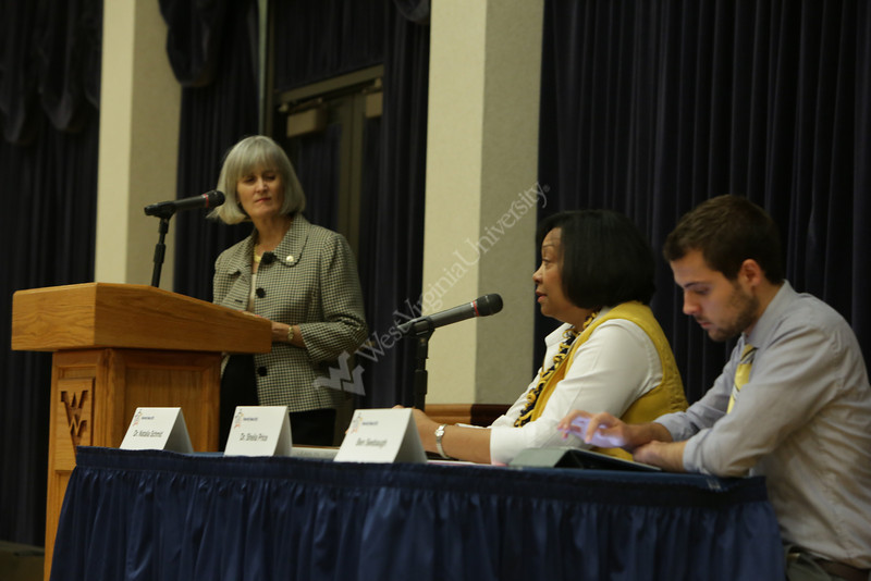 """Leaning in at WVU""<br /> Dr. Shelia Price, Dr. Natalia Schmid, Ben Seebaugh, Provost Wheatly"