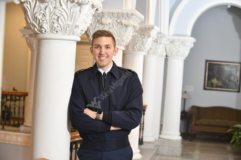 Air Force ROTC Cadet Garrett Burgess the 2017 Newman Civic Fellow poses in Stewart Hall April 7th, 2017.  Photo Brian Persinger