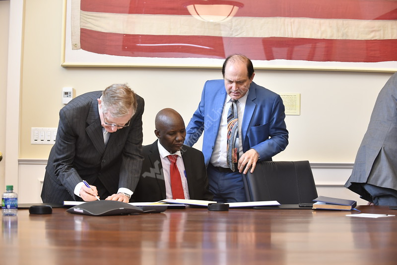 WVU President Gordon Gee, Provost Joyce McConnell, members of Global Affairs and Eable Rise Girl's High School of Kenya sign an MOU  in the Presidents Conference Room of Stewart Hall April, 12th 2017.  Photo Brian Persinger