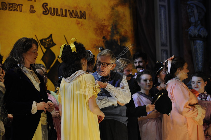 Dr. E. Gordon Gee mingles with the cast of Pirates of Penzance after their performance April 7, 2017 onstage of the Lyell B. Clay Theater in the Creative Arts Center.