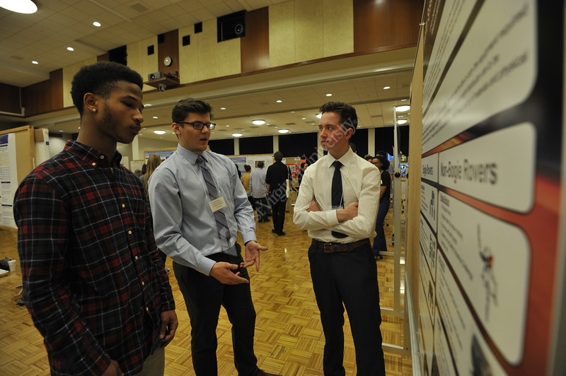 WVU students present hteir research on dozens of different subjects to judges, professors and prospective students and their families in the Mountainlair Ballrooms on WVU Decide Day April 8, 2017.