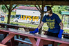 Danielle Conaway of WVU Medicine volunteers to help cleanup in Mannington, Wv after recent flooding August, 2nd 2017.  Photo Brian Persinger