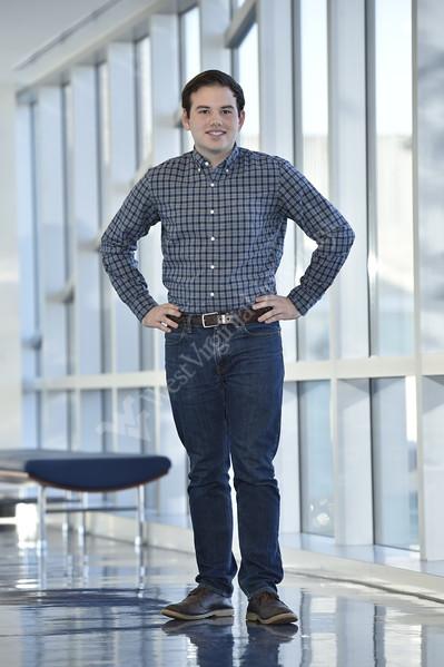 Patrick Thomas, a biochemistry major poses for an environmental at the Erma Byrd Biomedical Research Center December 7, 2017. Photo Greg Ellis