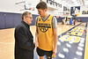 "WVU President E Gordon Gee interviews and plays basketball with the WVU men's basketball team and coaches as part of his ongoing ""Gee Mail"" series December 13, 2017. Photo Greg"