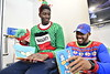 Members of the WVU Men's Basketball team visit with children before Christmas at WVU Medicine Children's Hospital December 21, 2017. Photo Greg Ellis