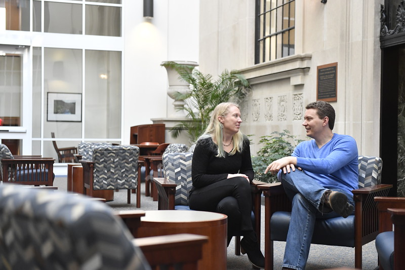 John and Sally Desksins pose for photographs for a Dual Career brochure in the Wise Library December 21st, 2017.  Photo Brian Persinger