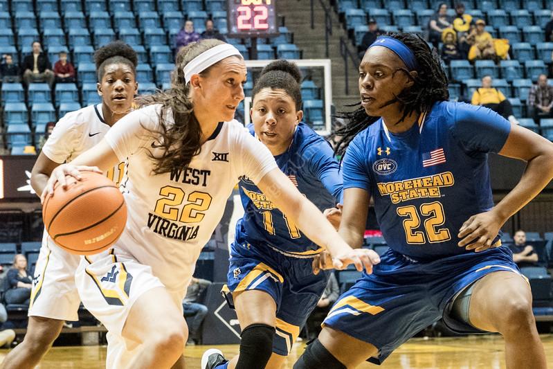 WVU Women's Basketball action vs Morehead state December 21, 2017. Photo Greg Ellis