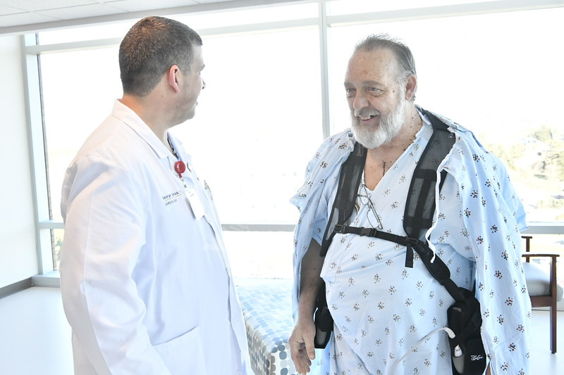 Kenneth Ritchie LVAD left ventricular assist device – patient works with and talks to WVU Medicine doctors and staff J.W. Ruby Memorial Hospital December 21, 2017. Photo Greg Ellis