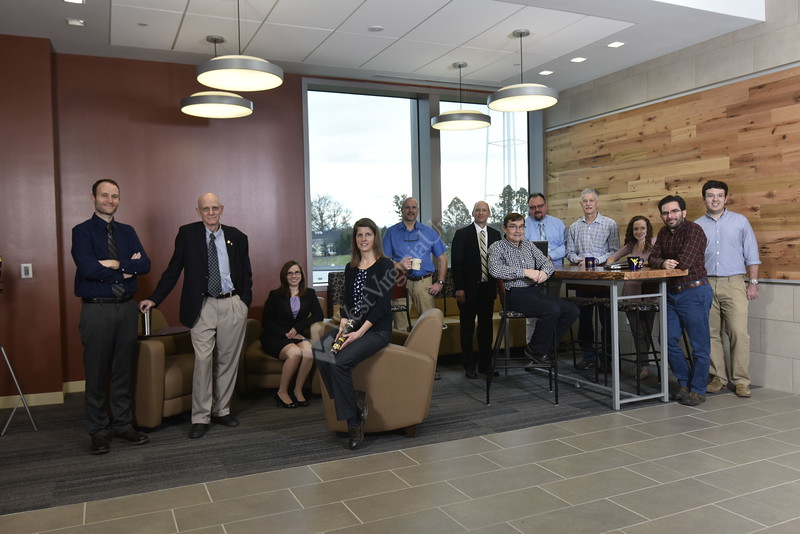 WVU Davis College faculty researchers seen here Feb. 23, 2017 at the Davis College pose for a picture.  Their research projects are being featured in a story for the Davis College spring magazine, focusing on collaborative and strategic research partnerships with the WV Natural Resources Conservation Service. (NRCS). Photo Greg Ellis