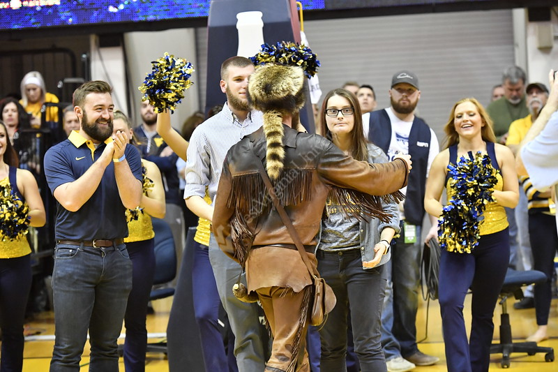 Greenbrier County native; Troy Clemons; graduate student; business administration; buckskins; coonskin cap; musket; Mountaineer Mascot for the 2017-18 year; Photo Greg Ellis