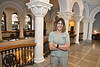 Professor and Chair of the Department of Forensic and Investigative Science department Suzanne Bell, Ph.D. poses for photographs on the second floor of Stewart Hall July 6th, 2017.  Photo Brian Persinger
