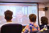 High school students attending the 4-H Business Camp at West Virginia University speak with United States Senator Joe Manchin III over Skype July  26, 2017. During the call, Senator Manchin answered the students' questions about Congress and his own political career, and explained his role as a United States Senator.