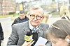 WVU President E Gordon Gee is behind the drivers wheel in the March edition of Gee Mail, filmed March 6, 2017 on the WVU VRC tour bus with perspective students from around the United States. President Gee quizzed students and parents about WVU trivia, awarding  prizes for correct answers. Photo Greg Ellis