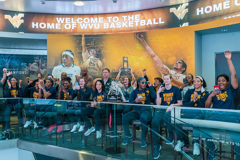 WVU women's basketball team members  and fans watch the NCAA selection show Monday night March 13, 2017 at the WVU Basketball  practice facility. The WVU women's team (23-10) was awarded a No. 6 seed and begins tourney play at 2:30 p.m. Friday, against 11th-seeded Elon (27-6), in College Park, Md. Photo Greg Ellis