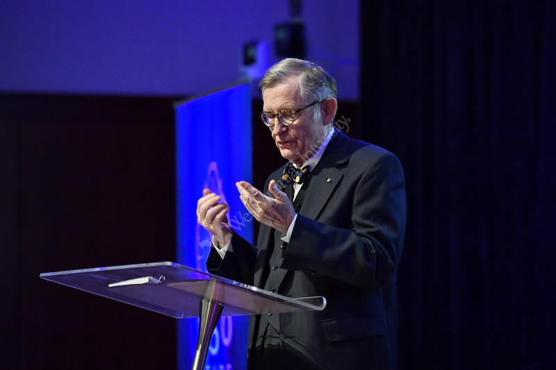WVU President E Gordon Gee seen here addresses faculty, staff and students at the State of the University, Erickson Alumni Center, Morgantown WV.  March 22, 2017. Gee outlined core Mountaineer values, and defended WVU's mission to improve lives in a special address to the WVU community. Photo Greg Ellis / WVU Today