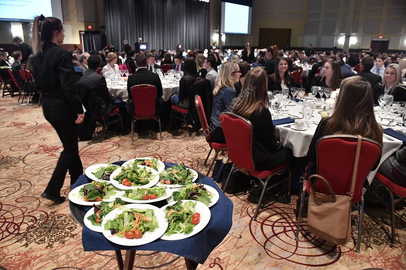 Students in the College of Business and Economics attend an etiquette dinner and fashion show at Waterfront Place Hotel  Wednesday, March 22nd 2017.  Photo Brian Persinger