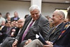 """West Virginia Governor Jim Justice speaks in the ballrooms of the Mountainlair as part of his, """"Save our State"""" or SOS tour in Morgantown, Wv March 29th, 2017. Photo Brian Persinger"""