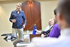 Clay Marsh leader of the academic health sciences center of West Virginia University meets in an informal group with Festival of Ideas speaker Dan Buettner and students at the WVU HSC November 2, 2017. Photo Greg Ellis