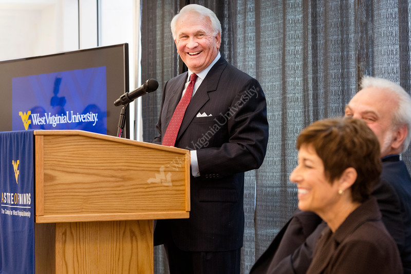 Verl Purdy addresses audience as wife Sandra and College of Engineering Dean Gene Cilento look on at gift announcement at the Advanced Engineering Research building Evansdale campus November 3, 2017. Photo Greg Ellis